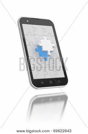 Jigsaw Puzzles On The Smartphone Screen.