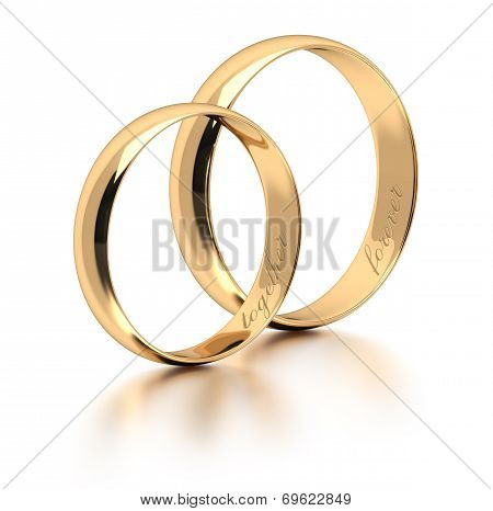 Wedding Rings On White.