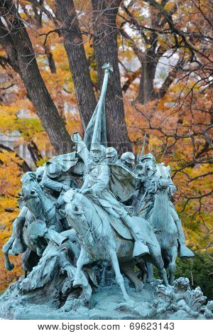 Ulysses S. Grant Cavalry Memorial in front of Capitol Hill in Washington DC, United States - Autumn scene