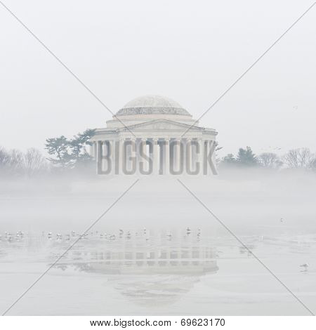 Jefferson Memorial in a foggy Winter morning - Washington D.C. United States of America