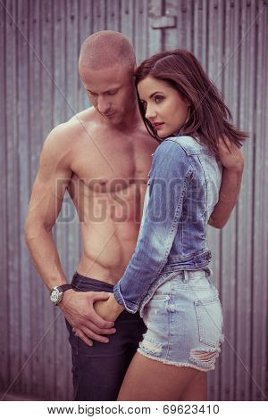 Very Hot Perfect Body Couple Romance. Emphasizing In love to Each Other, Isolated Wooden Vertical Lines