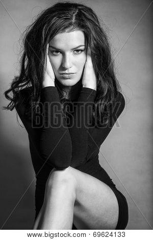 Bw Portrait Of Brunette Beautiful Girl Posing In Black Dress