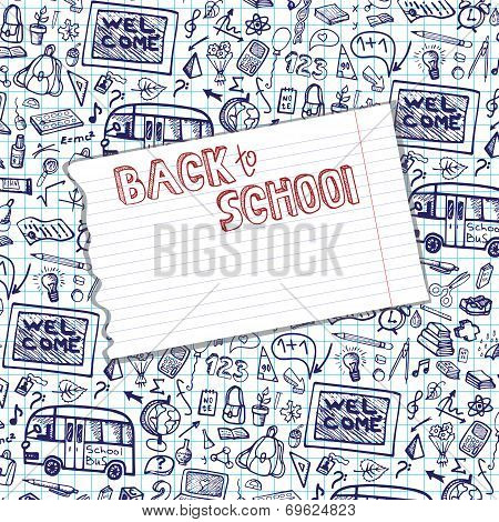 Back to School Supplies Sketchy Notebook pattern.Funny Doodles