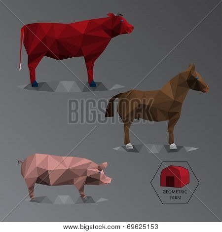 Colour Full Geometric Illustration Of Big Farm Animals - Triangle Polygons Gradient