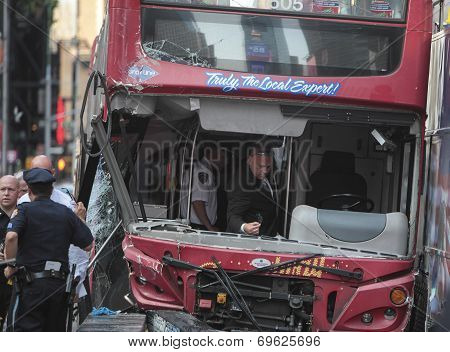 Investigators inside wrecked bus