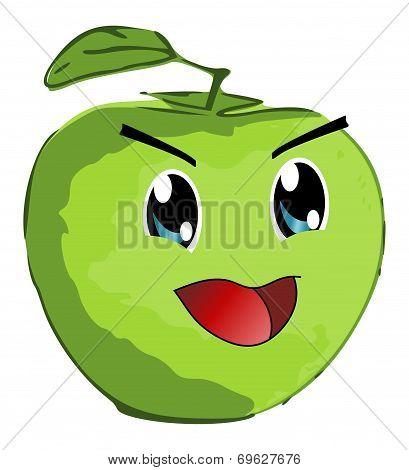 Smiling Green Apple - Manga Style - Isolated