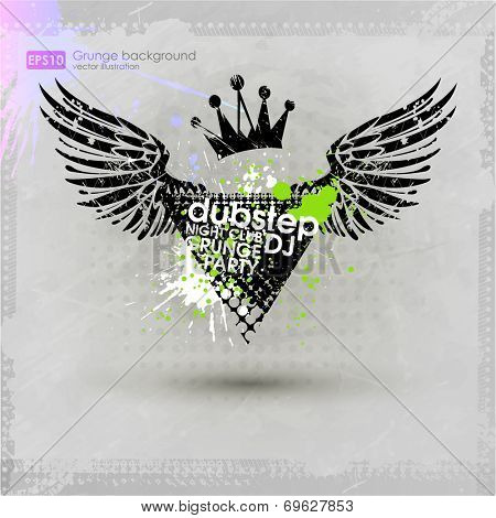 Grunge background with a colorful ink splat effect. Abstract grunge background. For party card template. vectror