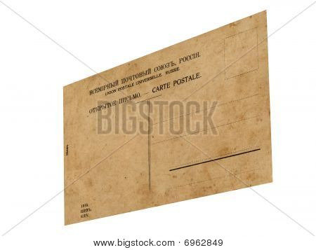Closeup Vintage Grunge Postcard Isolated, White Background
