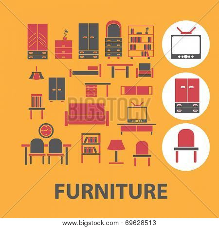 furniture icons, signs, objects set, vector