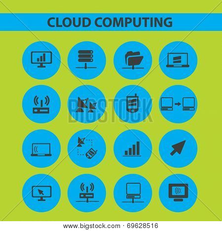 cloud computing, server, website icons, signs, objects set, vector