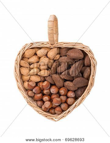 Variety Of Nuts In Heart Shape Basket