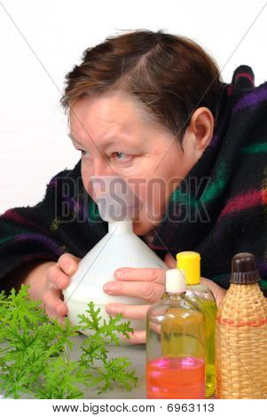 Woman Doctor Oneself  Inhalation Therapy
