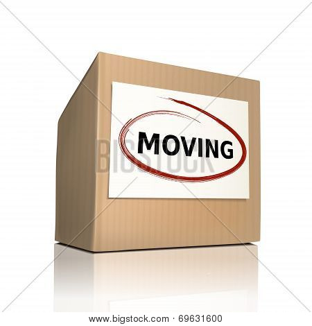 The Word Moving On A Paper Box