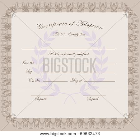 Certificate Of Adoption