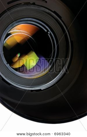 Lens With Hood Isolated On White