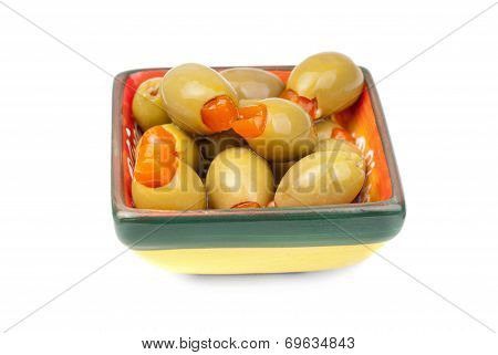Green Olives In Ceramic, Isolated On White Background