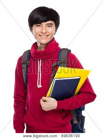 Student with school bag and handbook