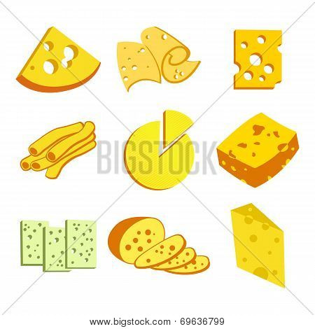 Whole cheese icons vecto