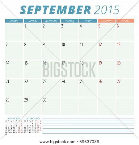 Calendar Planner 2015 Vector Design Template