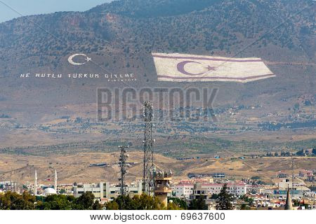 Flag of the Turkish Republic of Northern Cyprus overlooks the Cypriot capitol