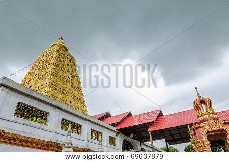 Bodhgaya-style Stupa At Wangvivagegaram Temple, Sangkhla Buri, Kanchanaburi Province , Thailand