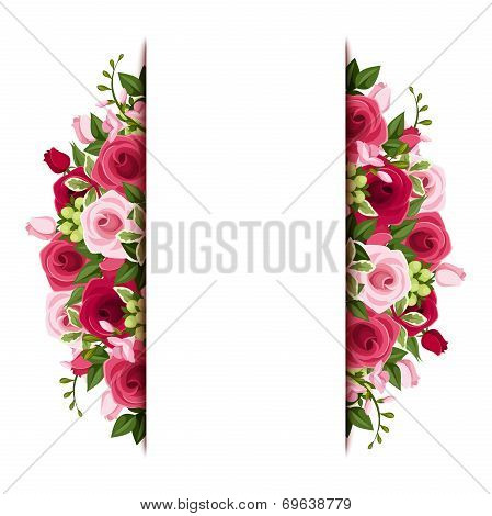Background with red and pink roses and freesia flowers. Vector eps-10.
