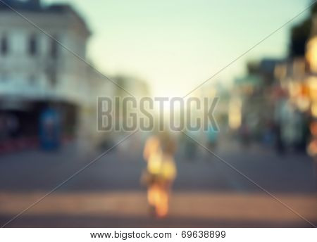 Street in european city in bokeh