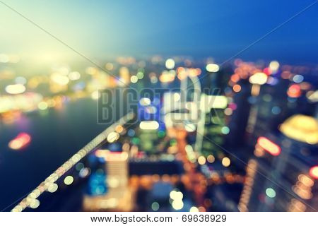 bokeh of skyline at sunset time, Shanghai, China