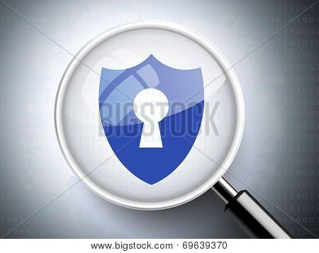 Magnifying Glass With Keyhole On Shield Icon