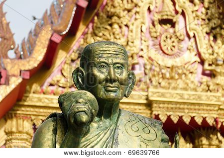 A Monk Statue  In Wat Mahaeyong Buddhism