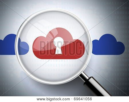 Magnifying Glass With Keyhole On Cloud Icons