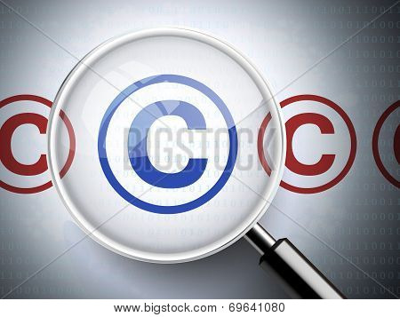 Magnifying Glass With Copyright Icons