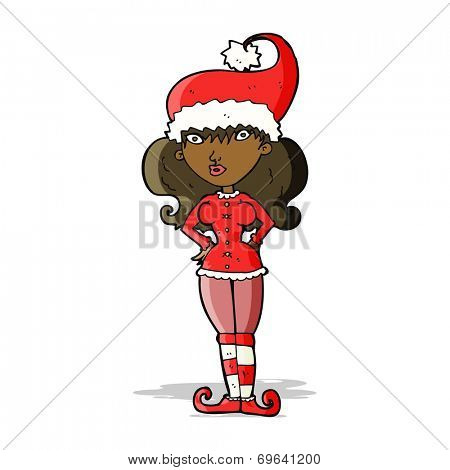 cartoon santa's helper woman
