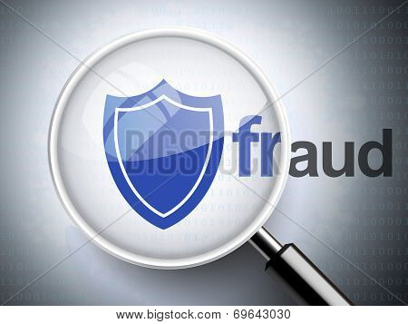 Magnifying Glass With Shield Icon And Fraud Word