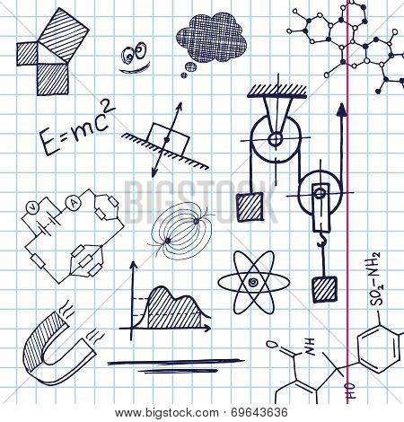 Vector hand draw phisics elements