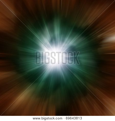 Explosion of green galaxy