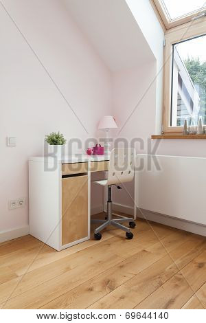 Desk With Chair In Bright Room