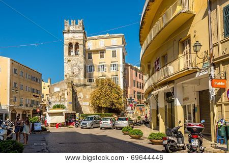 Old Tower In The Street Of Old City Corfu