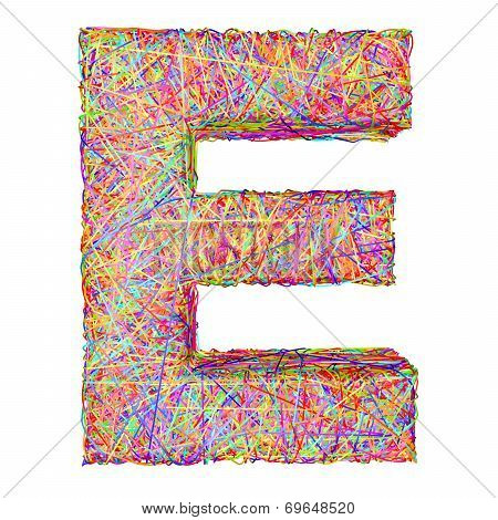 Alphabet Symbol Letter E Composed Of Colorful Striplines