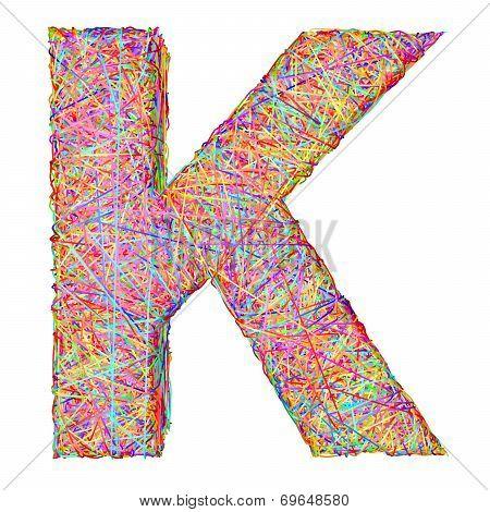 Alphabet Symbol Letter K Composed Of Colorful Striplines