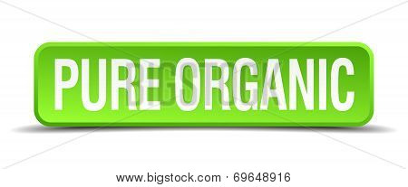 Pure Organic Green 3D Realistic Square Isolated Button