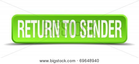 Return To Sender Green 3D Realistic Square Isolated Button
