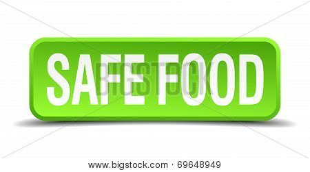 Safe Food Green 3D Realistic Square Isolated Button