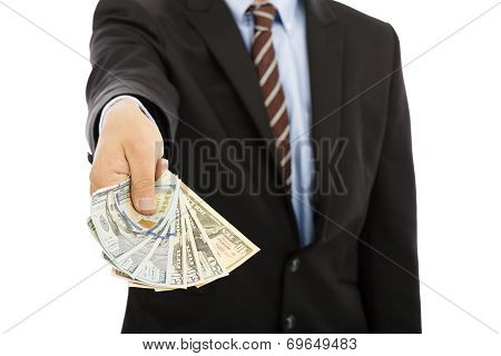 Business Man Displaying A Spread Of Us Dollar Cash