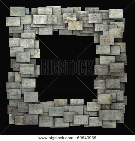 3D Gray Frame Tile Grunge Pattern On Black