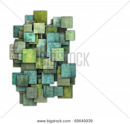 3D Green Square Tile Grunge Pattern On White