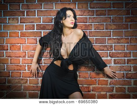 Charming young brunette woman in black near the brick wall. Sexy gorgeous young woman