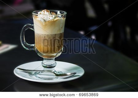 Cafe Coffee - Latte In A Glass With Cream