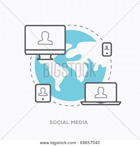 Social media illustration vector in modern minimal outline style