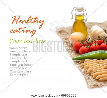 Italian Pasta With Vegetables And Olive Oil On A White Background